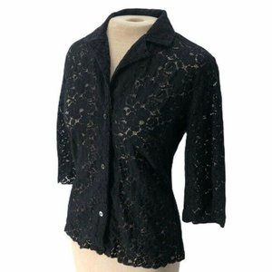 Banana Republic Lace Top Shirt Blouse Black Small